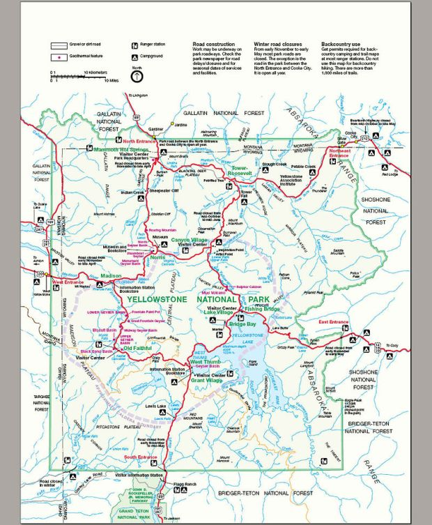 Carte de Yellowstone National park